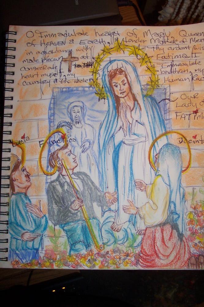 Jacinta Marto, Francisco Marto, Lúcia dos Santos, Virgin Mary par cindykron